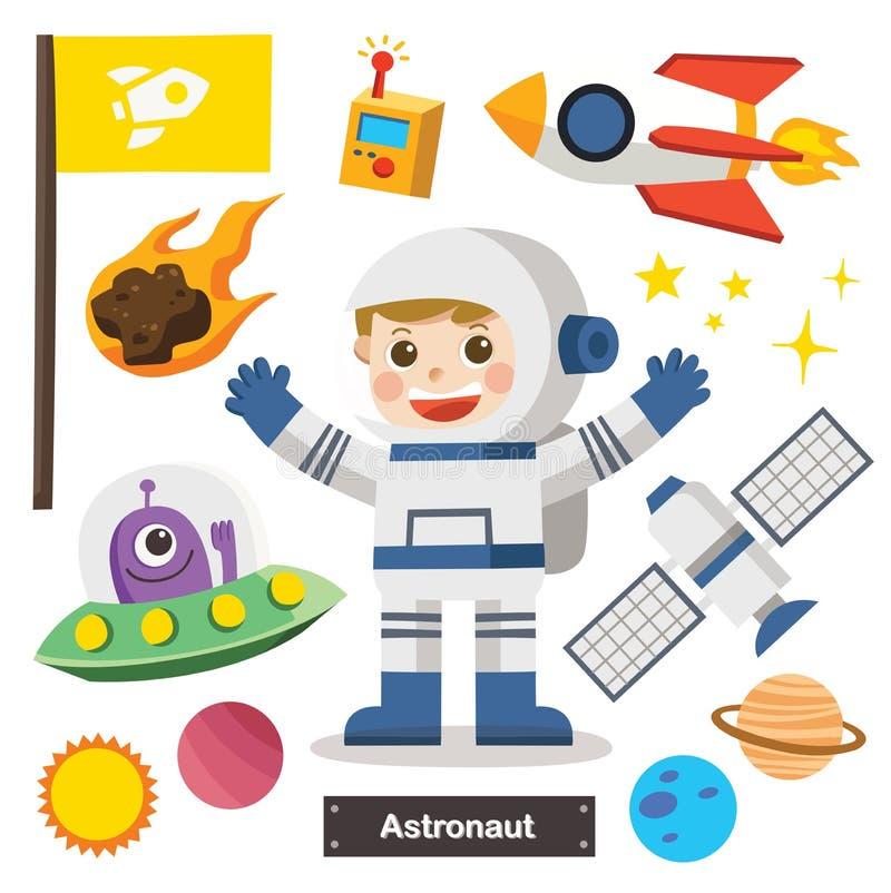 Σύνολο χαρακτήρων του αστροναύτη με το διαστημικό σκάφος διανυσματική απεικόνιση