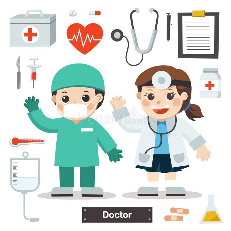 Σύνολο χαρακτήρων του γιατρού με το ιατρικό εξοπλισμό ελεύθερη απεικόνιση δικαιώματος