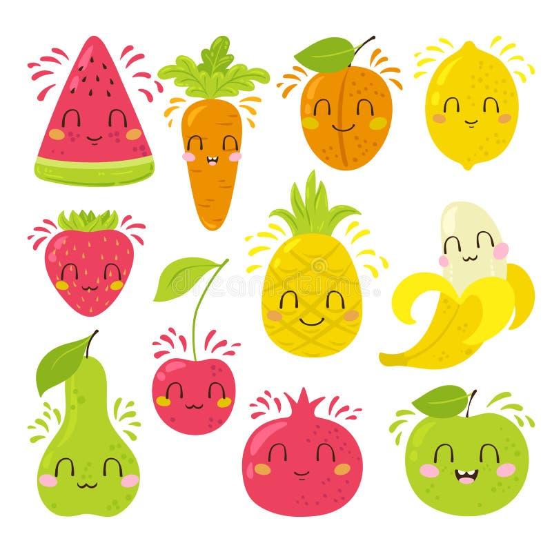 Σύνολο χαρακτήρων φρούτων διανυσματική απεικόνιση