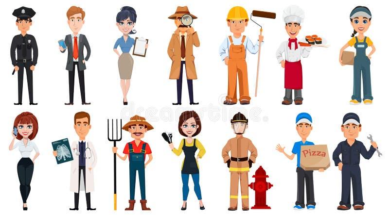 Σύνολο χαρακτηρών κινουμένων σχεδίων με τα διάφορα επαγγέλματα διανυσματική απεικόνιση