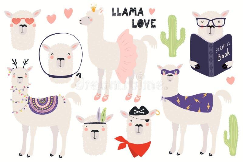 Σύνολο χαριτωμένα llamas ελεύθερη απεικόνιση δικαιώματος