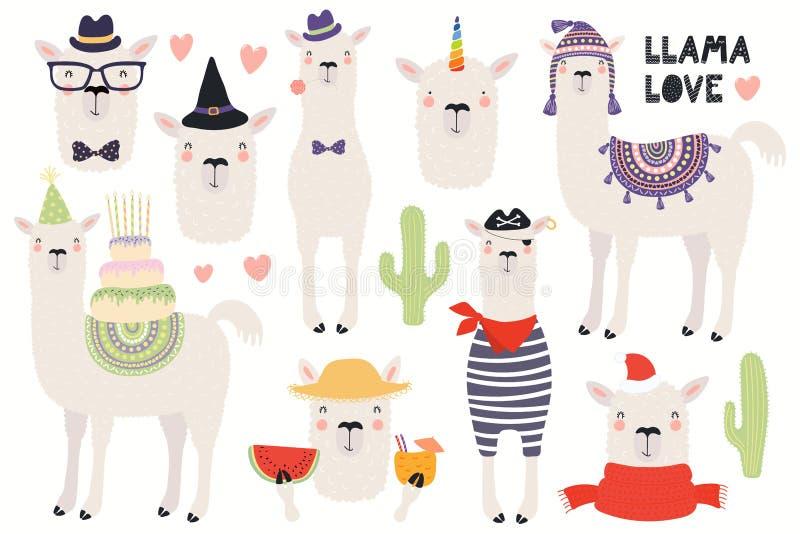 Σύνολο χαριτωμένα llamas διανυσματική απεικόνιση