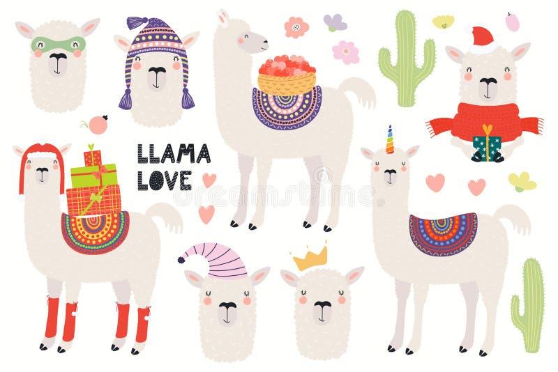 Σύνολο χαριτωμένα llamas απεικόνιση αποθεμάτων