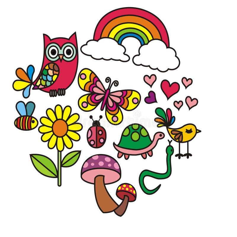 Σύνολο χαριτωμένου διανύσματος doodles eco φιλικού ζωηρόχρωμου ελεύθερη απεικόνιση δικαιώματος