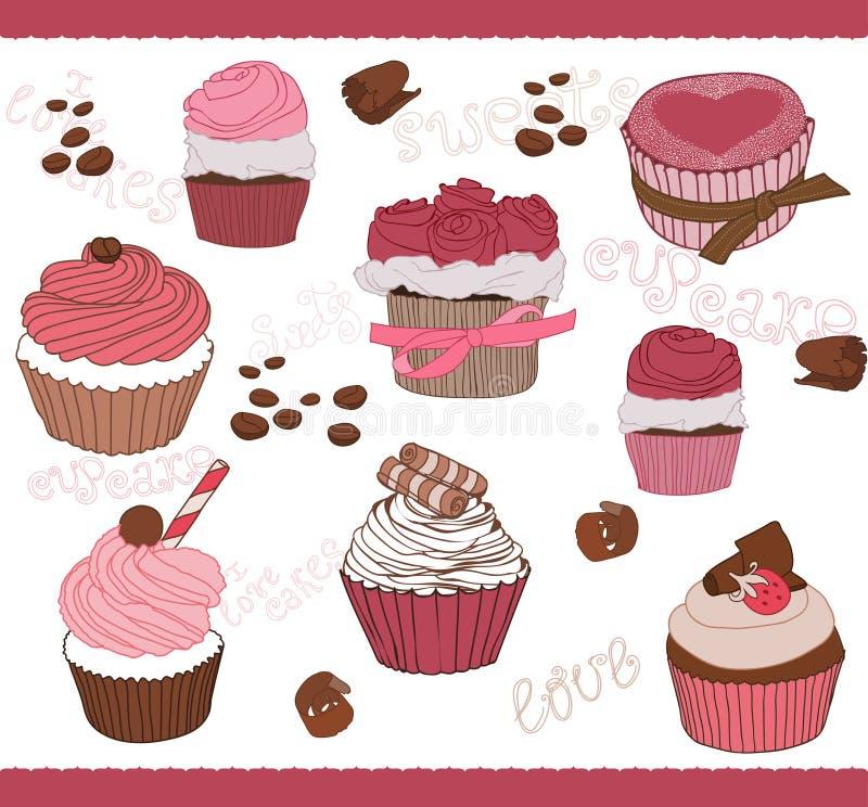 Σύνολο χαριτωμένου Cupcakes για το σχέδιο απεικόνιση αποθεμάτων