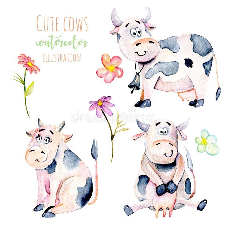 Σύνολο χαριτωμένων αγελάδων κινούμενων σχεδίων watercolor και απλών λουλουδιών διανυσματική απεικόνιση