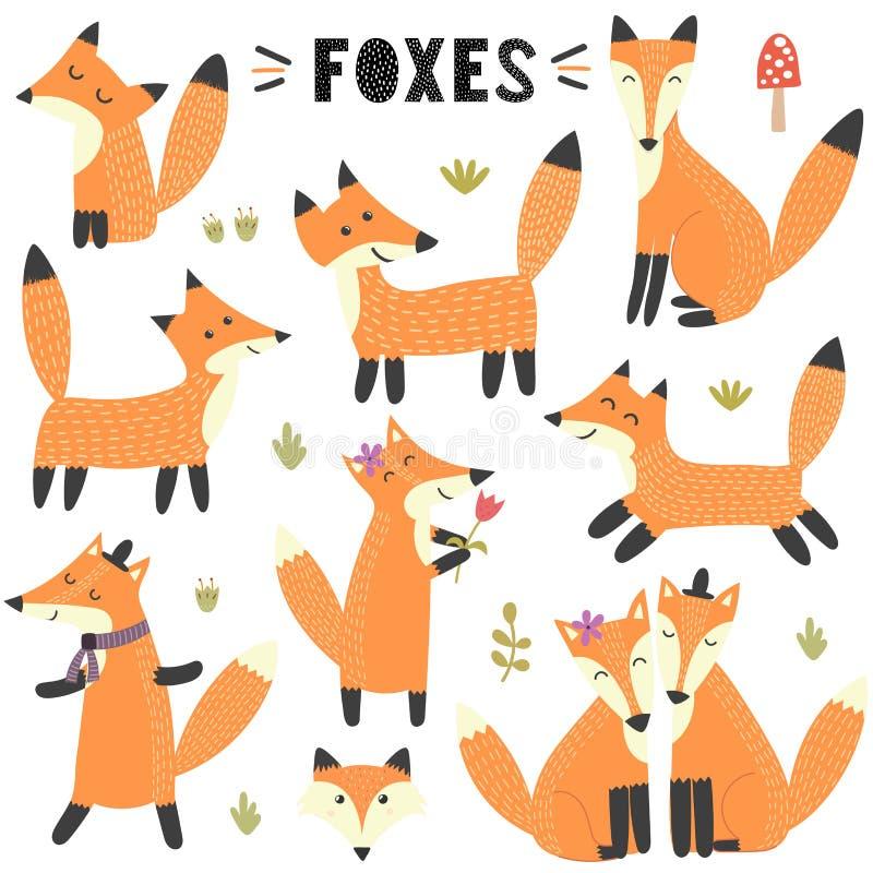 Σύνολο χαριτωμένων αλεπούδων Μεγάλος για το σχέδιο παιδιών και παιδιών απεικόνιση αποθεμάτων