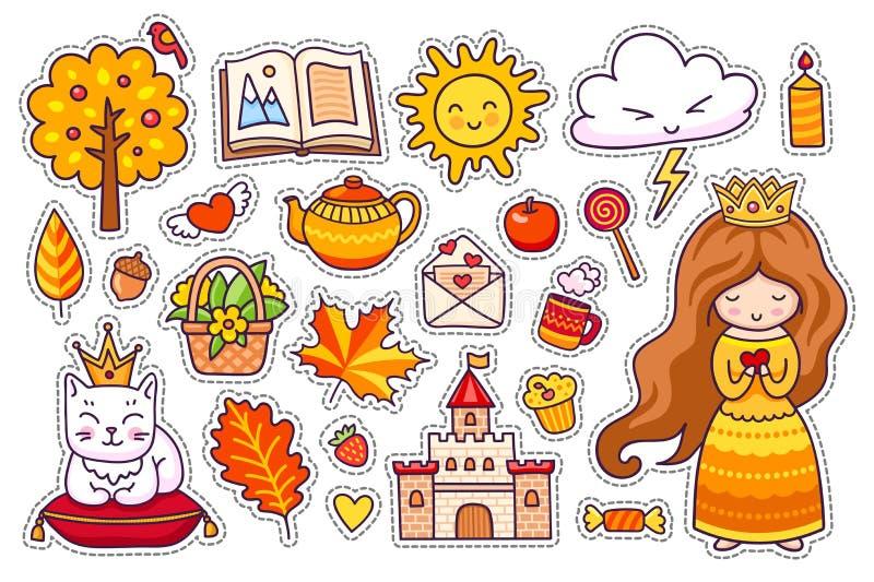 Σύνολο χαριτωμένων αυτοκόλλητων ετικεττών φθινοπώρου ελεύθερη απεικόνιση δικαιώματος