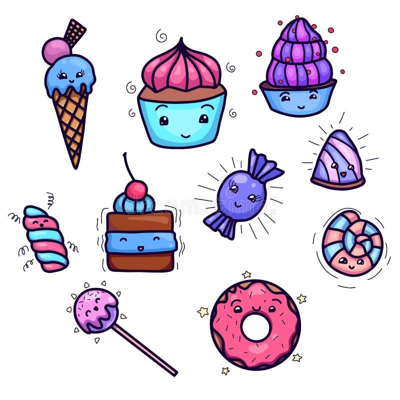 Σύνολο χαριτωμένων, γλυκών kawai και παρασκευής Αντικείμενο που χωρίζεται από το υπόβαθρο απεικόνιση αποθεμάτων
