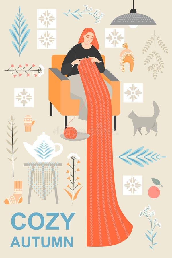 Σύνολο χαριτωμένων διανυσματικών απεικονίσεων των αντικειμένων και ιδιοτήτων του Σκανδιναβικού πλέκοντας μαντίλι ύφους και γυναικ απεικόνιση αποθεμάτων