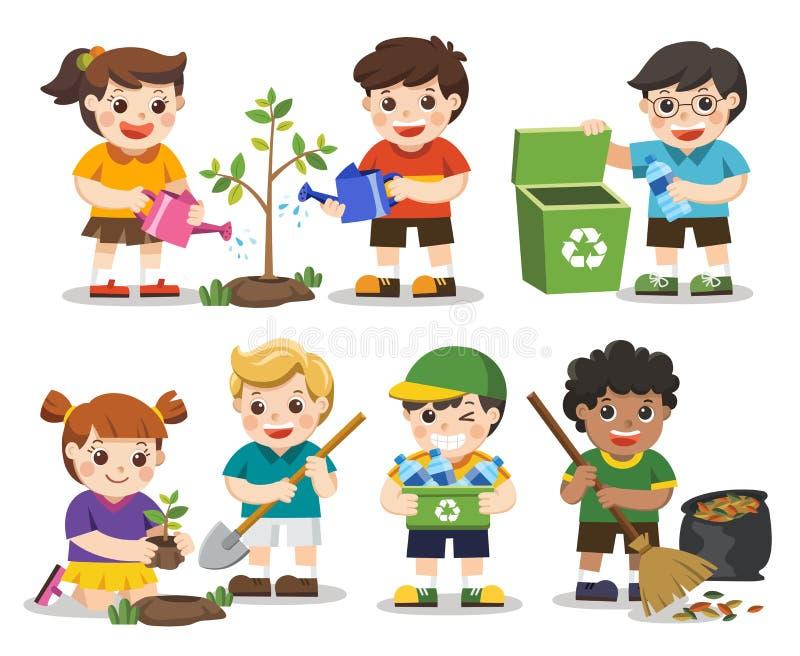 Σύνολο χαριτωμένων εθελοντών παιδιών η γη σώζει ελεύθερη απεικόνιση δικαιώματος