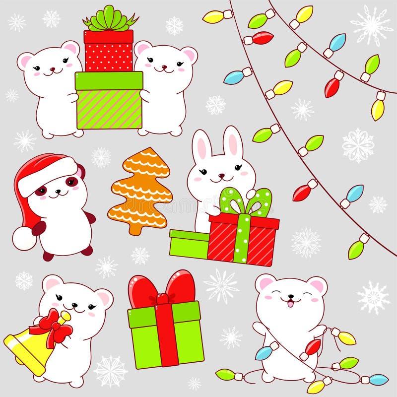 Σύνολο χαριτωμένων εικονιδίων γιορτής Χριστουγέννων στο ύφος kawaii απεικόνιση αποθεμάτων