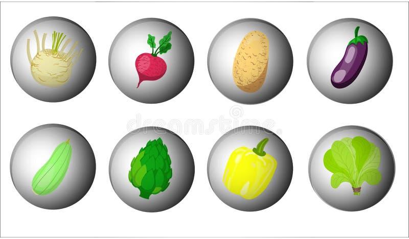 Σύνολο χαριτωμένων εικονιδίων λαχανικών Επίπεδα εικονίδια σχεδίου για τα λαχανικά o απεικόνιση αποθεμάτων