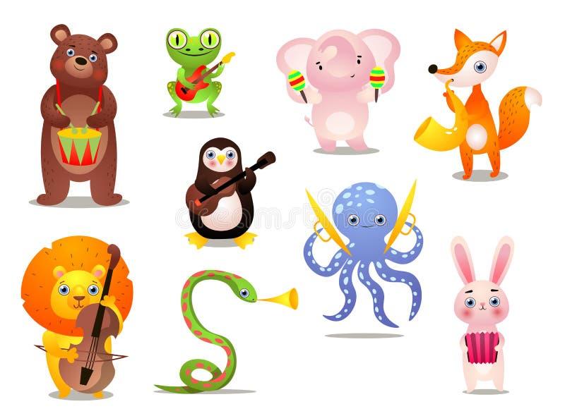 Σύνολο χαριτωμένων ζωηρόχρωμων ζώων μουσικών με το διαφορετικό όργανο διανυσματική απεικόνιση