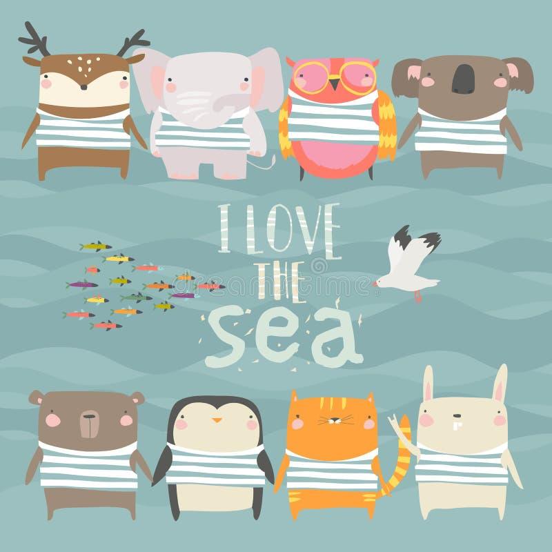 Σύνολο χαριτωμένων ζώων που φορούν τη ριγωτή φανέλλα στο υπόβαθρο θάλασσας διανυσματική απεικόνιση