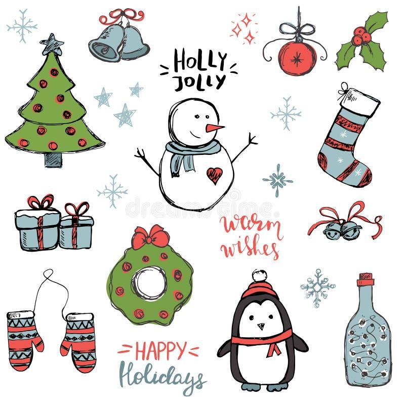 Σύνολο χαριτωμένων και απλών συρμένων χέρι στοιχείων Χριστουγέννων διανυσματική απεικόνιση