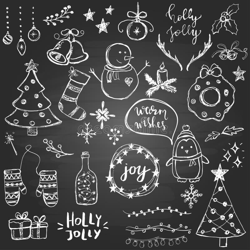 Σύνολο χαριτωμένων και απλών συρμένων χέρι στοιχείων Χριστουγέννων στο υπόβαθρο πινάκων διανυσματική απεικόνιση