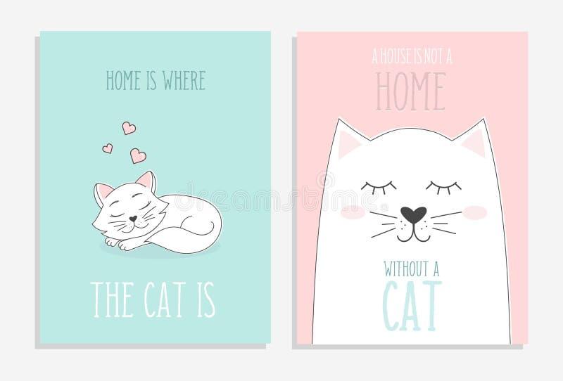 Σύνολο χαριτωμένων καρτών με συρμένες τις χέρι γάτες Το σπίτι είναι όπου η γάτα είναι ελεύθερη απεικόνιση δικαιώματος