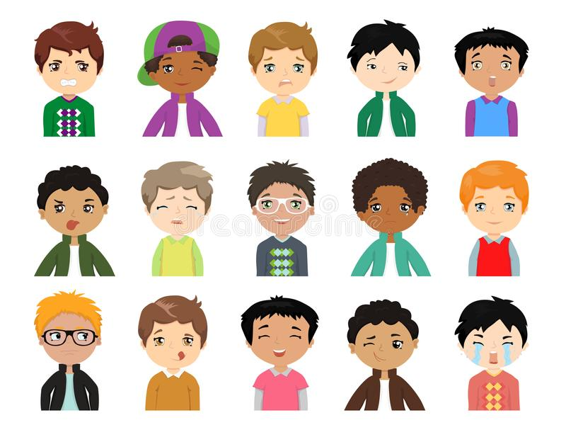 Σύνολο χαριτωμένων πολυ-εθνικών συγκινήσεων προσώπου αγοριών κινούμενων σχεδίων Αστεία παιδιά των διαφορετικών φυλών με διάφορο απεικόνιση αποθεμάτων