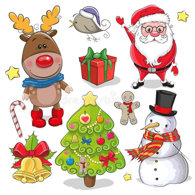 Σύνολο χαριτωμένων στοιχείων σχεδίου Χριστουγέννων απεικόνιση αποθεμάτων