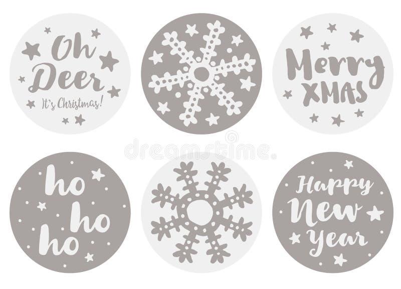 Σύνολο χαριτωμένων στρογγυλών διανυσματικών αυτοκόλλητων ετικεττών Χριστουγέννων και καλής χρονιάς μορφής 6 διανυσματική απεικόνιση