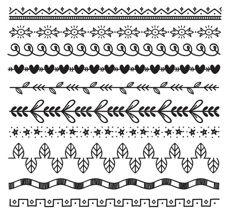 Σύνολο χαριτωμένων συρμένων χέρι συνόρων διανυσματική απεικόνιση