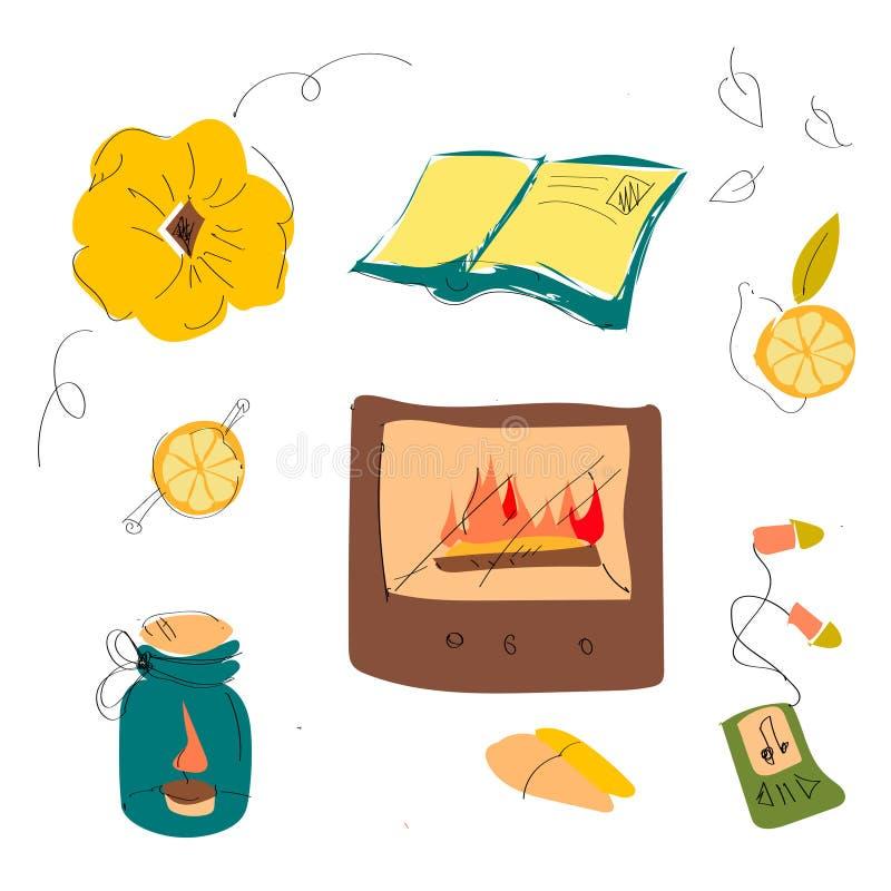 Σύνολο χαριτωμένων φθινοπώρου πραγμάτων, εγκαταστάσεων και τροφίμων κινούμενων σχεδίων χαριτωμένων Εποχή πτώσης Συλλογή των στοιχ διανυσματική απεικόνιση