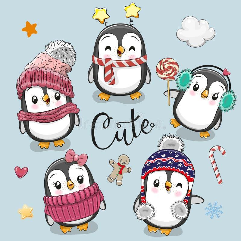 Σύνολο χαριτωμένων Χριστουγέννων Penguins κινούμενων σχεδίων ελεύθερη απεικόνιση δικαιώματος