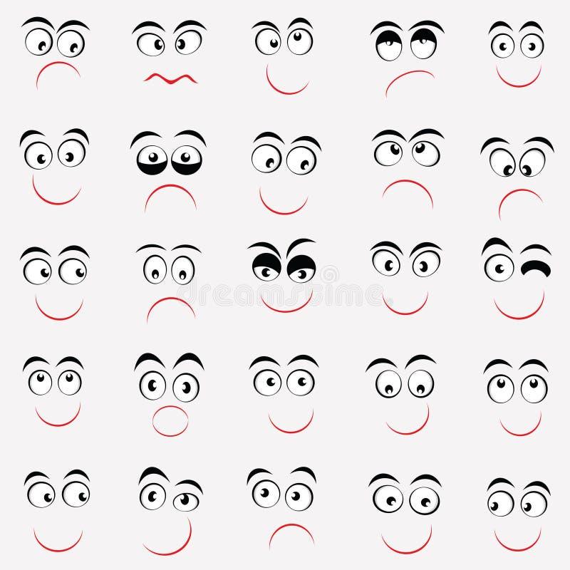 Σύνολο χαριτωμένων emoticons με τις διαφορετικές συγκινήσεις στοκ εικόνες με δικαίωμα ελεύθερης χρήσης