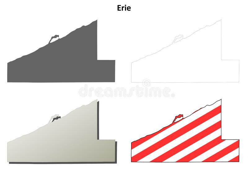 Σύνολο χαρτών περιλήψεων κομητειών του Erie, Πενσυλβανία διανυσματική απεικόνιση
