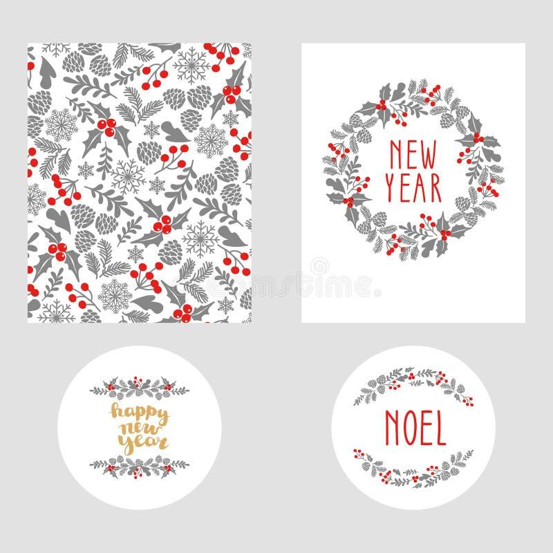 Σύνολο χειμερινής κάρτας Χριστουγέννων, και στοιχεία σχεδίου Πλαίσιο χειμερινών Χριστουγέννων, διανυσματική απεικόνιση Ευχετήρια  διανυσματική απεικόνιση