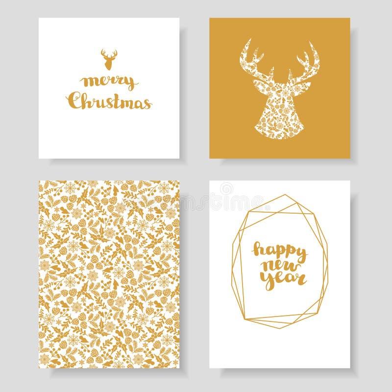 Σύνολο χειμερινής κάρτας Χριστουγέννων, και στοιχεία σχεδίου Πλαίσιο χειμερινών Χριστουγέννων, διανυσματική απεικόνιση Τελειοποιή ελεύθερη απεικόνιση δικαιώματος