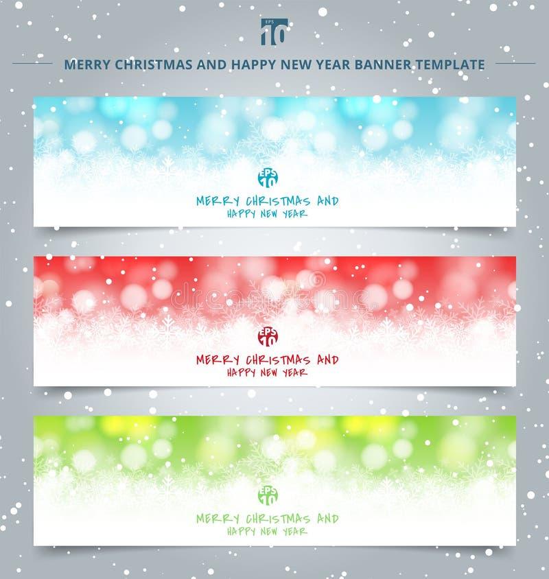 Σύνολο χειμερινού άσπρου bokeh Ιστού εμβλημάτων Χριστουγέννων και λαμπιρίζοντας εορταστικού υποβάθρου φω'των ελεύθερη απεικόνιση δικαιώματος