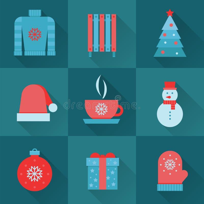 Σύνολο χειμερινών εικονιδίων Εικονίδια Χριστουγέννων, επίπεδο σχέδιο διανυσματική απεικόνιση