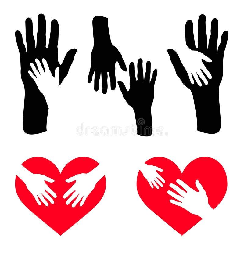 Σύνολο χεριού φροντίδας και χεριού στην κόκκινη καρδιά ελεύθερη απεικόνιση δικαιώματος