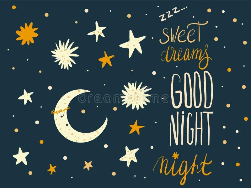 Σύνολο χεριών ύπνου darwn χαριτωμένων στοιχείων και κινούμενων σχεδίων παιδιών charac απεικόνιση αποθεμάτων