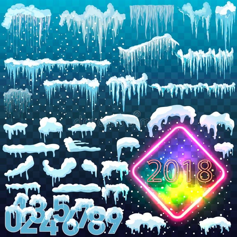 Σύνολο χιονιού ΚΑΠ Χιονώδη στοιχεία στο χειμερινό υπόβαθρο Διανυσματικό πρότυπο στο ύφος κινούμενων σχεδίων για το σχέδιό σας διανυσματική απεικόνιση