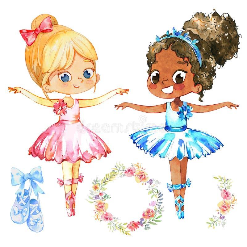 Σύνολο χορευτών χαρακτήρα πριγκηπισσών Ballerina αφροαμερικάνων Χαριτωμένη παιδιών κοριτσιών κατάρτιση κοστουμιών Tutu ένδυσης μπ διανυσματική απεικόνιση