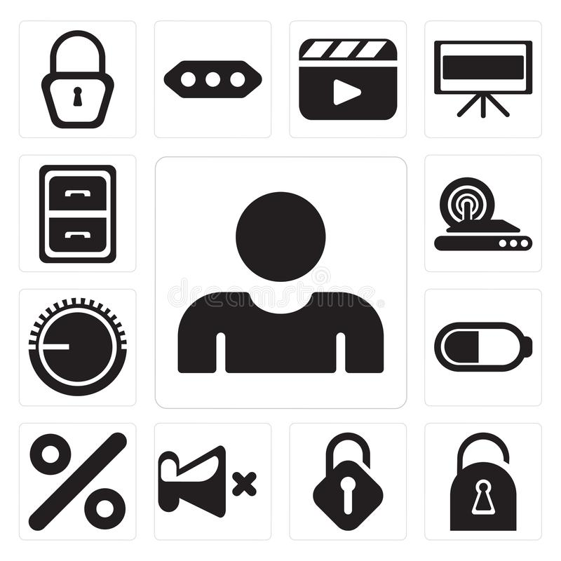 Σύνολο χρήστη, που κλειδώνεται, που ξεκλειδώνεται, μουγγός, τοις εκατό, μπαταρία, όγκος ομο διανυσματική απεικόνιση