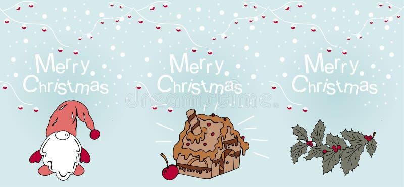 Σύνολο Χριστουγέννων και νέων ευχετήριων καρτών έτους στοκ εικόνα με δικαίωμα ελεύθερης χρήσης