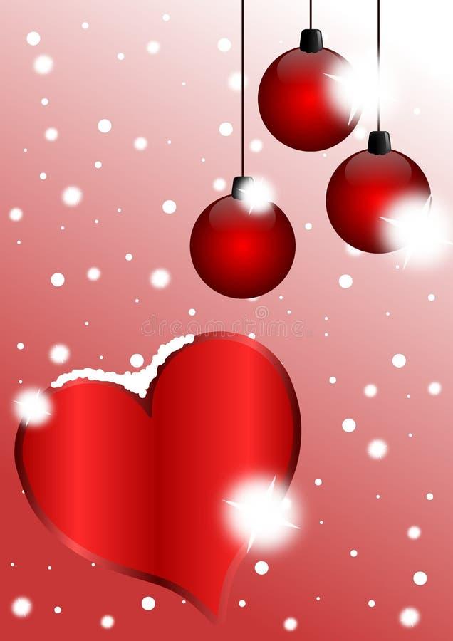 Σύνολο Χριστουγέννων της ευχετήριας κάρτας αγάπης διανυσματική απεικόνιση