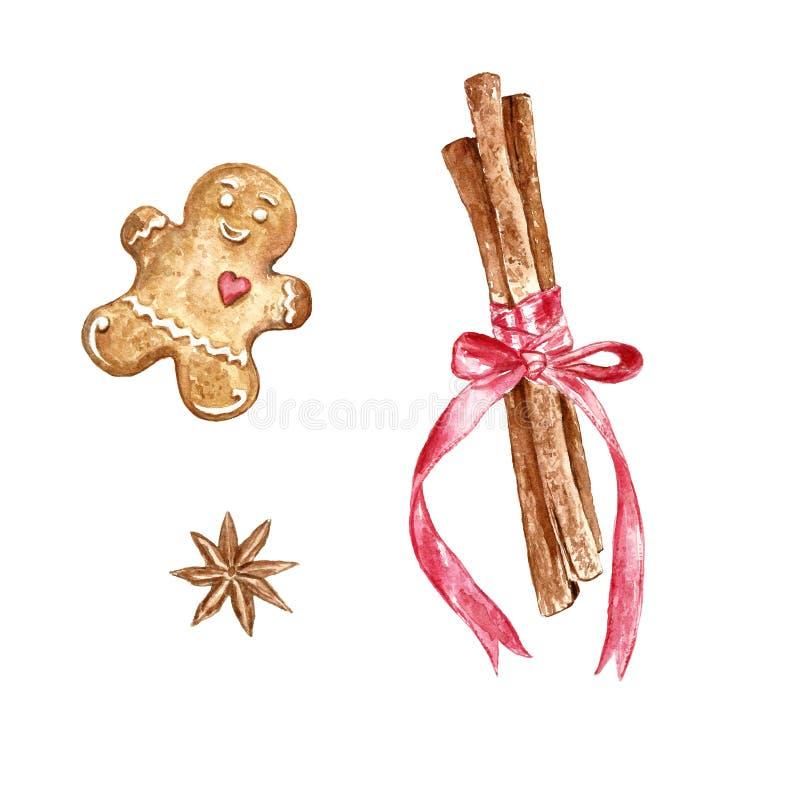Σύνολο Χριστουγέννων Watercolor συρμένων χέρι ραβδιών κανέλας και μπισκότου μελοψωμάτων ελεύθερη απεικόνιση δικαιώματος