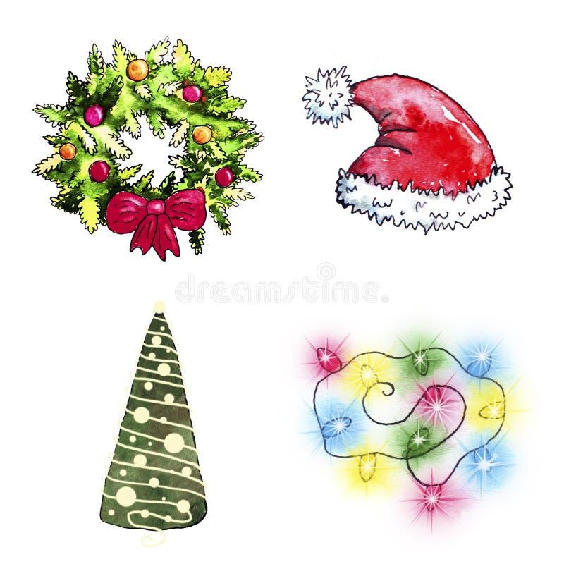 Σύνολο Χριστουγέννων Watercolor διανυσματική απεικόνιση
