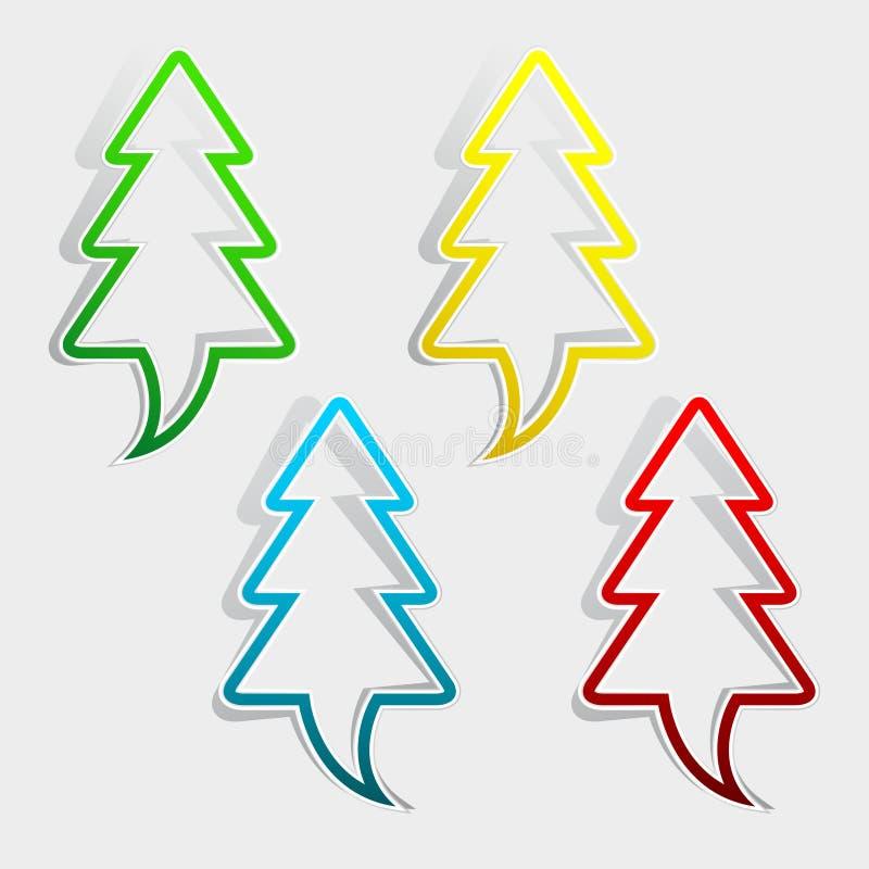 Σύνολο χριστουγεννιάτικων δέντρων διανυσματική απεικόνιση