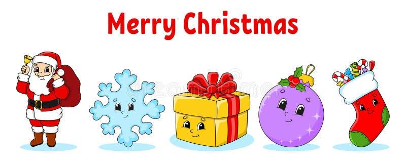 Σύνολο χριστουγεννιάτικων χαριτωμένων χαρακτήρων σκίτσων Άγιος Βασίλης, νιφάδα χιονιού, δώρο, μαρούλι, κάλτσα Ευτυχισμένος ο καιν ελεύθερη απεικόνιση δικαιώματος