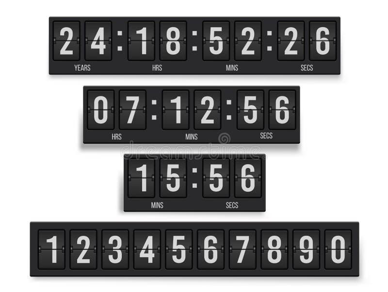 Σύνολο χρονομέτρων αντίστροφης μέτρησης, μηχανική συσκευή για τις πληροφορίες απεικόνιση αποθεμάτων