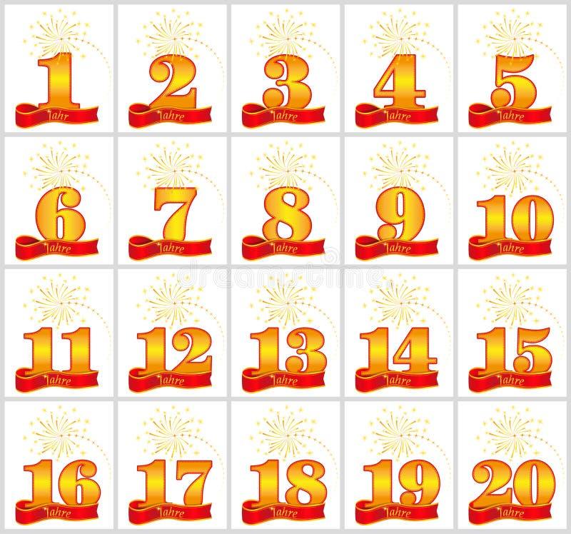 Σύνολο χρυσών αριθμών από 1 έως 20 και η λέξη του έτους στο υπόβαθρο μιας κόκκινης κορδέλλας επίσης corel σύρετε το διάνυσμα απει διανυσματική απεικόνιση