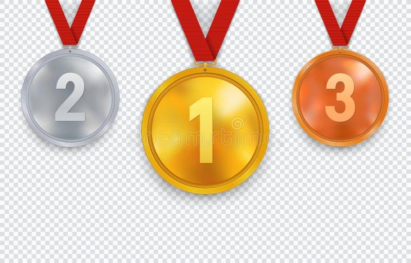 Σύνολο χρυσών ασημιού και χάλκινων μεταλλίων με την κόκκινη κορδέλλα Αθλητικά βραβεία με την πρώτοι δεύτερη και τρίτη θέση απεικόνιση αποθεμάτων