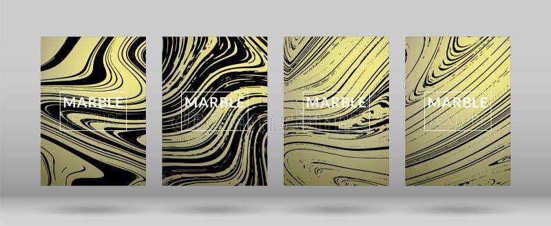 Σύνολο χρυσών και ασημένιων μαρμάρινων καλύψεων διανυσματική απεικόνιση