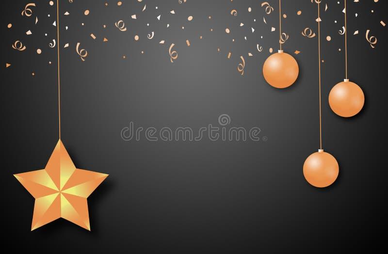 Σύνολο χρυσών σφαιρών Χριστουγέννων στο μαύρο υπόβαθρο απεικόνιση ελεύθερη απεικόνιση δικαιώματος